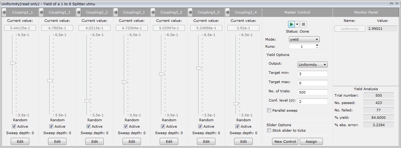 Control panel for 8-variable yield estimation